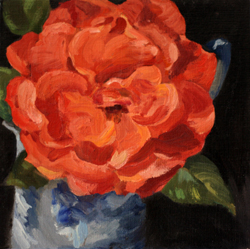 Here ' s <i>Rose from My Garden,</i> an oil on linen painting exhibited last month at Modern Eden Gallery, San Francisco.