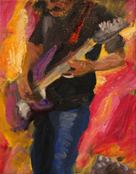 Here ' s <i>Jazz Guitarist,</i> an oil on canvas painting currently at Modern Eden Gallery, San Francisco.