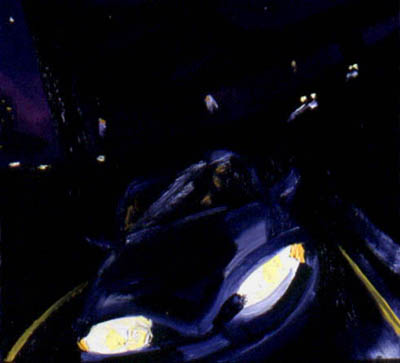 <i>Objects Are Closer Than They Appear</i> is an oil painting inspired by the experience of driving an automobile.