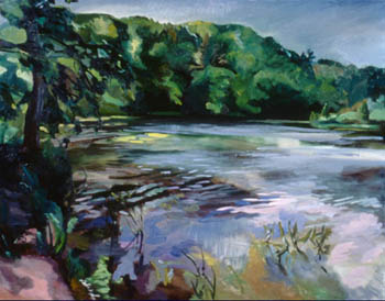 Here ' s <i>Oxbow Lagoon,</i> an oil painting completed during my artist's residency at Oxbow, an art school in Saugatuck, Michigan.